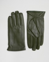 Barney's Originals Barneys Leather Gloves in Khaki
