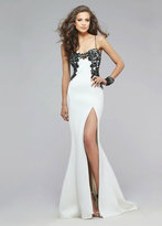 Faviana Lace Appliqued Sweetheart Neoprene Evening Gown 7724