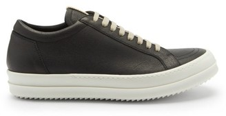 Rick Owens Grooved-sole Leather Trainers - Black