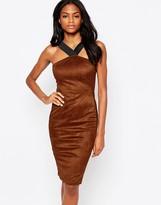 AX Paris Suedette Midi Dress with Strap Detail