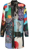 Yohji Yamamoto longline patchwork print shirt