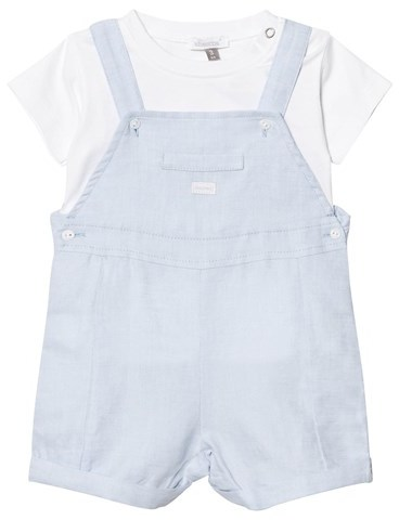 Absorba Pale Blue Cotton-Linen Blend Dungarees and Tee Set