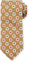 Peter Millar Flower-Print Silk-Cotton Blend Tie, Khaki