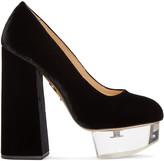 Charlotte Olympia Black Velvet & Perspex Alix Heels