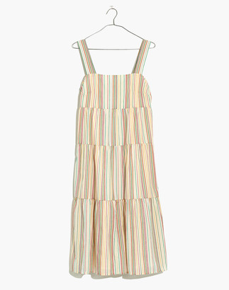 Madewell Petite Button-Back Tiered Dress in Textural Rainbow Stripe