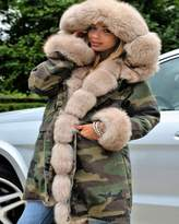 Roiii® Thickened Faux Fur Camouflage Parka Women Hooded Long Winter Jacket Overcoat