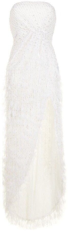 RALPH & RUSSO Pearl-Embellished Silk Column Gown