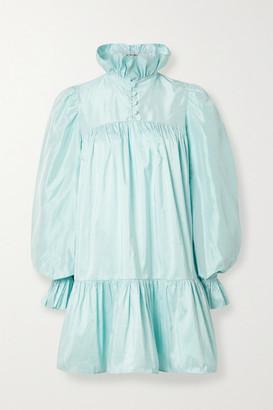 AVAVAV Ruffled Silk-charmeuse Mini Dress - Light blue