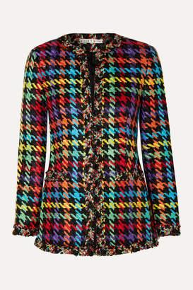 Alice + Olivia Andreas Frayed Houndstooth Tweed Blazer - Black