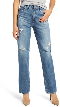 AG Jeans Alexxis Distressed High Waist Straight Jeans