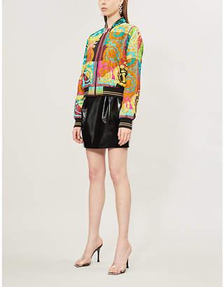 Versace Baroque-print padded silk-satin bomber jacket