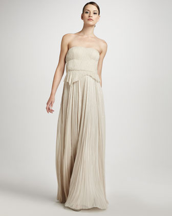 J. Mendel Pleated Strapless Gown, Soft Beige