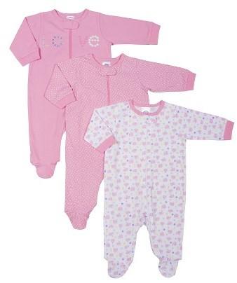 Gerber Newborn Girls' 3 Pack Long-sleeve Elephant Sleep N' Play - Pink