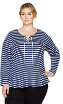 NYDJ Women's French Terry Stripe Lace up Top