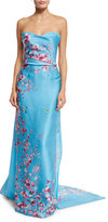 Monique Lhuillier Strapless Cherry Blossom Column Gown, Sky Blue/Multi
