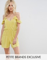 Missguided Petite Pleated Cold Shoulder Frill Sleeve Romper