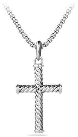 David Yurman Men's 39mm Sterling Silver Cable Cross Pendant
