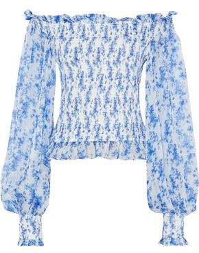 Caroline Constas Damaris Off-the-shoulder Shirred Printed Silk-chiffon Top