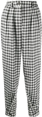 Semi-Couture Gingham Print Trousers