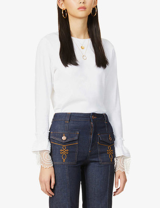 See by Chloe Flared cotton-jersey top