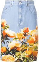 MSGM Floral Print Denim Skirt