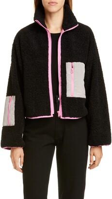 Sandy Liang Frey Moire Pocket Fleece Jacket