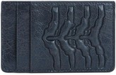 Alexander Mcqueen Blue Ribcage Leather Card Holder