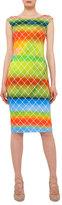 Akris Punto Baseball-Net Striped Sheath Dress, Multi Colors