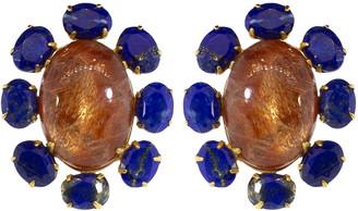 Bounkit Sunstone and Lapis Flower Earrings