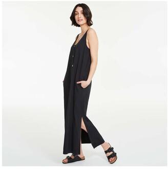 Joe Fresh Women's Button-Front Maxi Dress, Black (Size M)