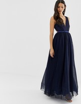 Dolly & Delicious plunge front prom maxi dress in navy
