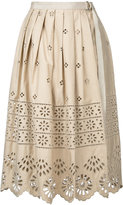 Sea embroidered pleated skirt - women - Cotton - 4