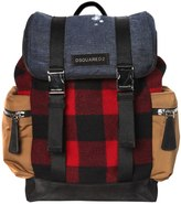 DSQUARED2 Checked Wool & Denim Backpack