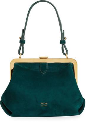 KHAITE Agnes Small Suede Framed Top-Handle Bag