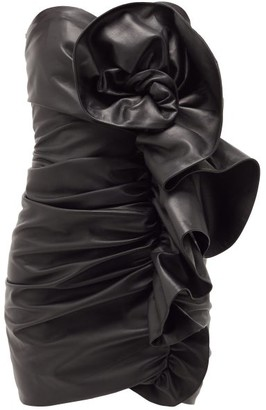 Alexandre Vauthier Strapless Ruffled Leather Mini Dress - Black