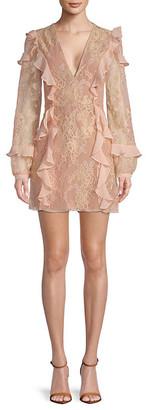 For Love & Lemons Bumble Ruffle Long-Sleeve Mini Dress
