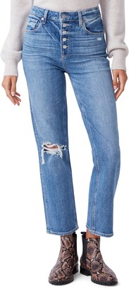 Paige Sarah Exposed Button High Waist Ankle Straight Leg Jeans