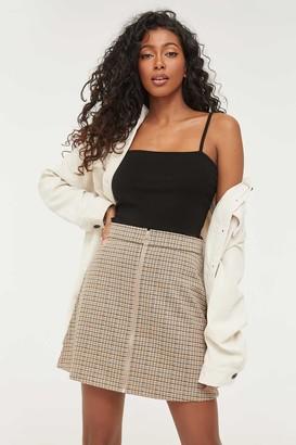 Ardene Zipped Plaid Mini Skirt