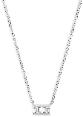 Ef Collection Baguette Diamond Mini Bar Necklace