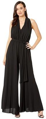 Maggy London Crepe Pleated Jumpsuit (Black) Women's Jumpsuit & Rompers One Piece