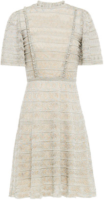 M Missoni Ruffle-trimmed Metallic Crochet-knit Mini Dress
