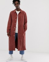 Asos long trench coat in washed rust