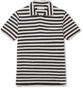 Orlebar Brown Striped Cotton-terry Polo Shirt - Midnight blue