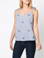 George Tie Shoulder Embellished Top