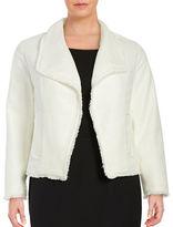 MICHAEL Michael Kors Plus Fringed Open Tweed Jacket