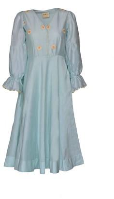 The Loom Art Mint Skyline Silk Dress