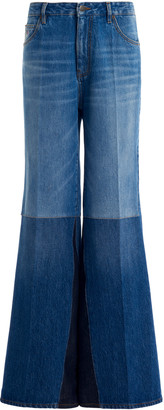 Victoria Beckham Patchwork Flare-Leg Jeans