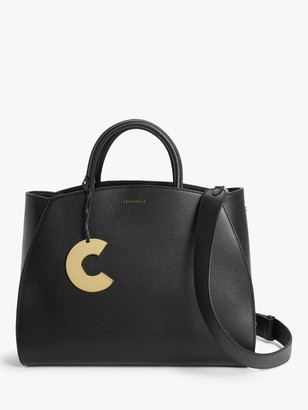 Coccinelle Concrete Maxi Leather Grab Bag, Black
