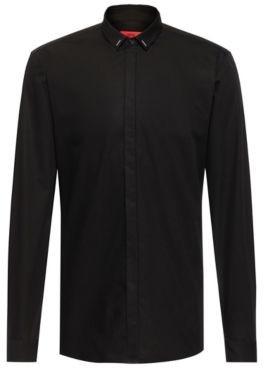 HUGO BOSS Easy Iron Extra Slim Fit Shirt With Collar Trim - Black