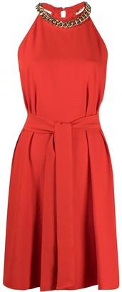 Pinko Chain-Detailing Tie-Waist Dress